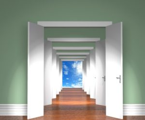 Sequence of the open white doors to heaven.