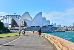 Sydney Opera house and harbor bridge on a sunny day