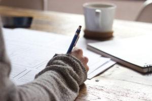 Making a plan, writing things down